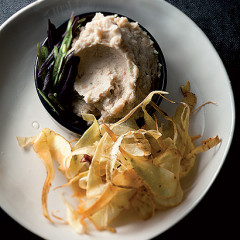 Warm cannellini bean dip with parsnip chips