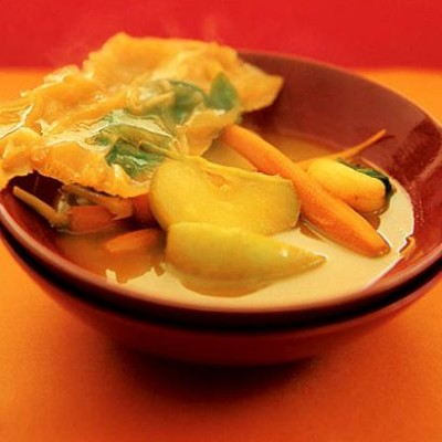 Warm carrot & apple soup with carrot and basil ice