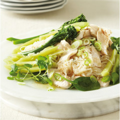 Warm chicken and rice noodle salad