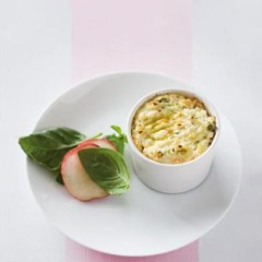 Warm chilli and garlic baked ricotta with basil-and-peach salad