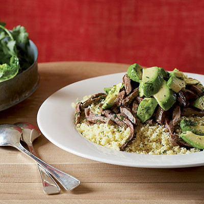 Warm couscous, beef and avocado salad