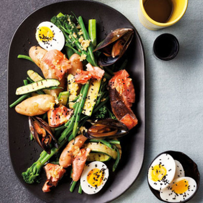 Warm egg-and-seafood salad