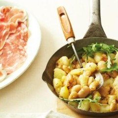 Warm potato and bean salad with assorted cold cuts