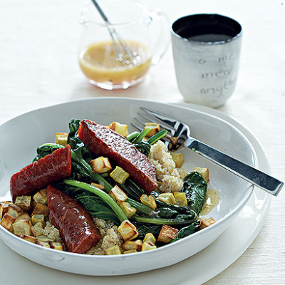 Warm salad of steamed spinach,sweet potato, quinoa and grilled chorizo