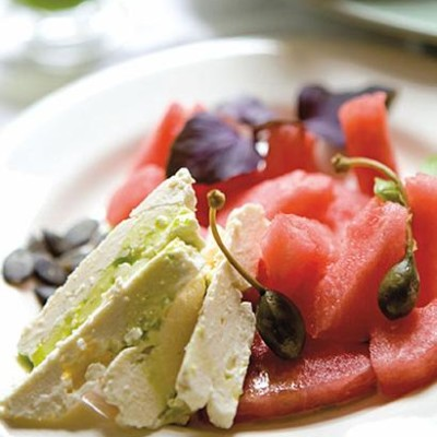 Watermelon and feta salad with basil-infused oil