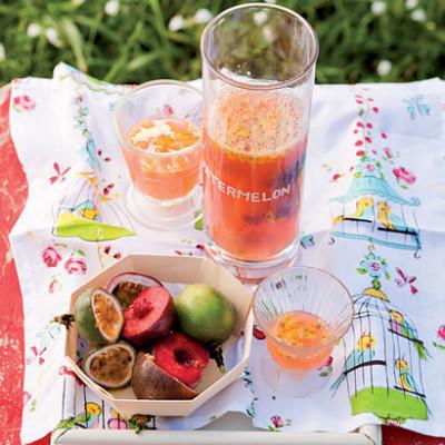 Watermelon, plum and granadilla punch
