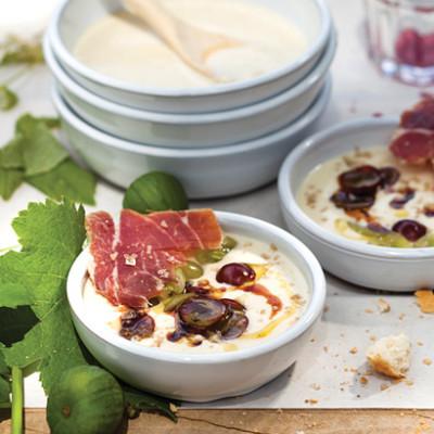 White almond gazpacho with grapes and Serrano ham