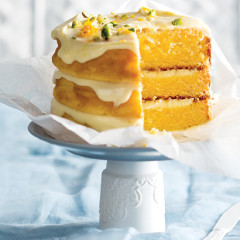 White chocolate cardamom and orange layered cake with white chocolate ganache