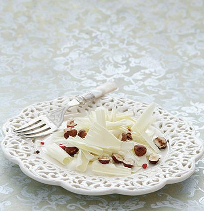 White Organic Chocolate Carpaccio With Creme Fraiche Toasted Hazelnuts And Pink Peppercorns Woolworths Taste