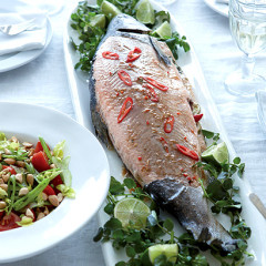 Whole baked salmon with tamarind and ginger