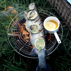 Whole chargrilled salmon trout with lemon-infused butter