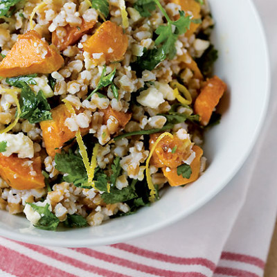 Whole-wheat and pumpkin salad with gremolata dressing
