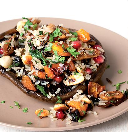 Wild brown rice salad on grilled brown mushrooms ...