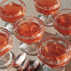 Wine jelly with poached nectarines