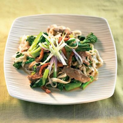 Wok fried duck and Asian greens