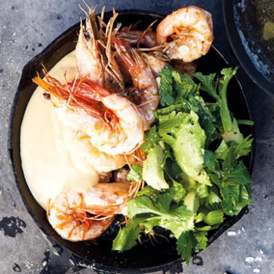 Wok-fried garlicky prawns with ponzu aioli and crunchy celery salad