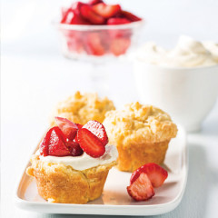 Yoghurt muffins with warm sticky strawberry preserve
