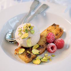 Zabaglione ice cream with raspberries, pistachios and crispy panettone