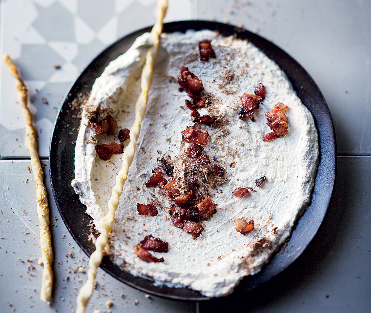 Biltong and bacon dip with Parmesan breadsticks recipe