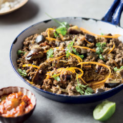 Brinjal-and-beef mince curry