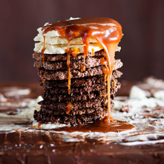 Chocolate-and-coconut ombre stack with butterscotch sauce