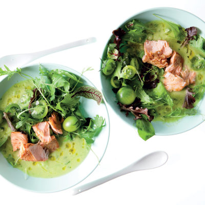 Cucumber gazpacho with smoked trout