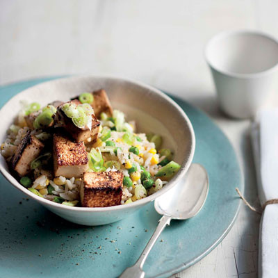 Fried-rice-with-corn-peas-and-honey-soya-tofu