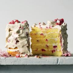 Gluten-free raspberry cake with creme fraiche icing