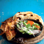 Grilled-chicken-wings-with-naan-breads-and-Nandos-mild-peri-peri-dipping-yoghurt-sauce