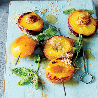 Honey-and-coconut roast peaches
