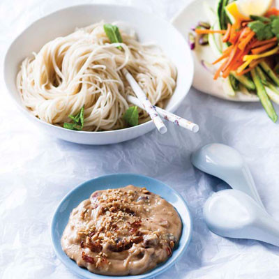 Noodle salad with Asian-style peanut butter sauce