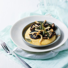 Roast mushrooms on soft gorgonzola polenta
