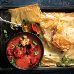 Roast tomato soup with cheesy phyllo sandwiches