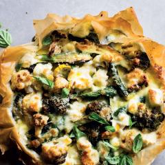 Roast vegetable tart with Parmesan cream