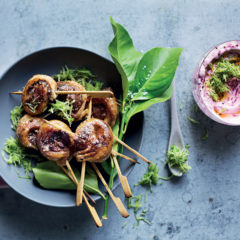 Rosemary lamb lollipops with beetroot tzatziki