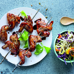 Sticky chicken wings with Asian slaw