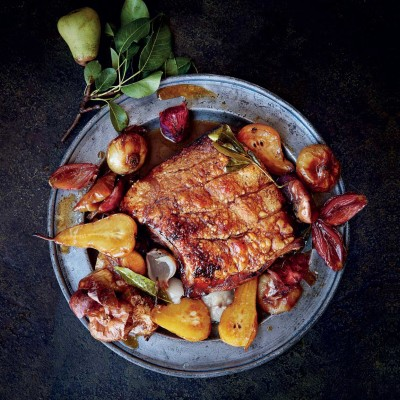 Italian-styled pork belly roasted with verjuice and pears