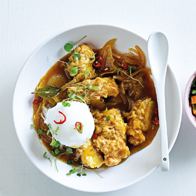 Pickled fish with lemon sorbet and chilli nectarine sambal for Pickled fish recipes