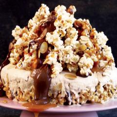 Chocolate caramel popcorn ice-cream cake