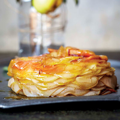 Baked caramelised pear stack