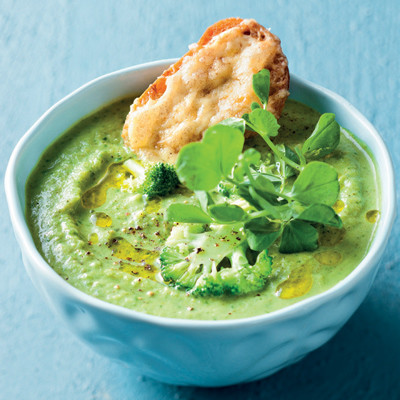 Broccoli soup with cheddar-and-mustard baguette