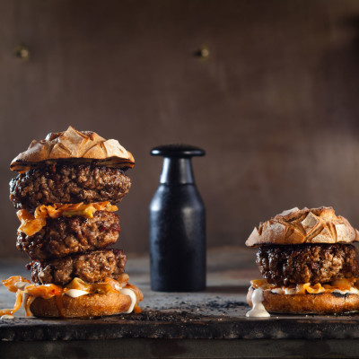 Hand-chopped burgers with kimchi