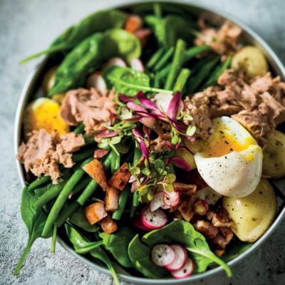 Niçoise salad with warm soft-boiled eggs
