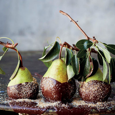 Pears dipped in chocolate