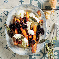 Roast butternut and Fior Di Latte salad with warm blueberry dressing