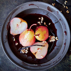 Rose-poached peaches