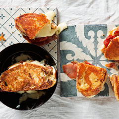 Italian toasted cheese, ham and tomato sandwich