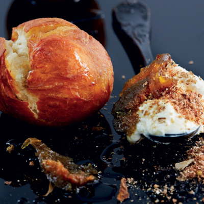 Vetkoek with biltong, cream cheese and preserved figs