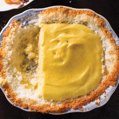Naartjie-and-cardamom milk tart with candied citrus peel