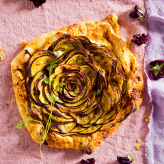 Brinjal, dhania and feta freeform tart